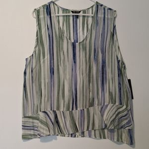 Nic + Zoe  Sleeveless Silk Top Watercolor Stripe
